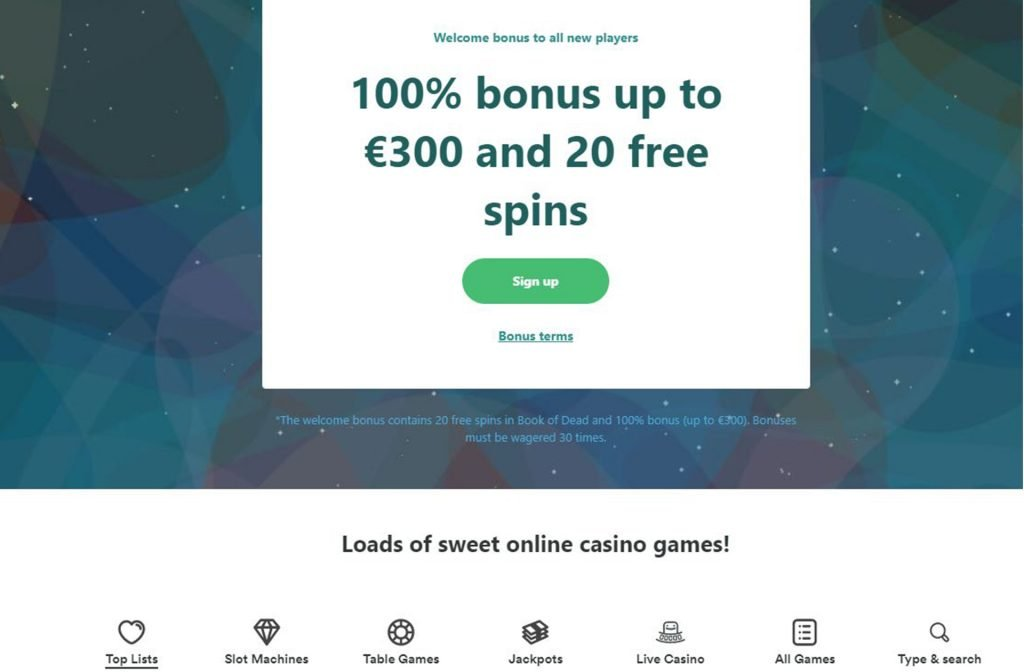 Casumo Rewards you for Signing up!