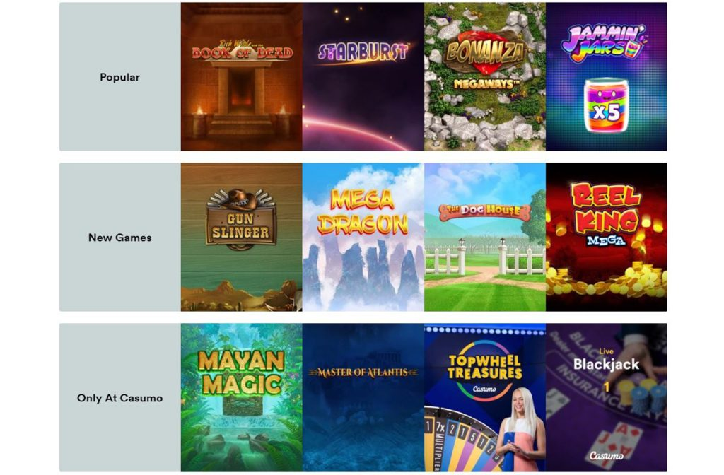 Some of the Games at Casumo