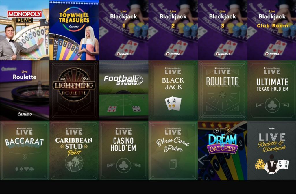 The Live Casino Section at Casumo