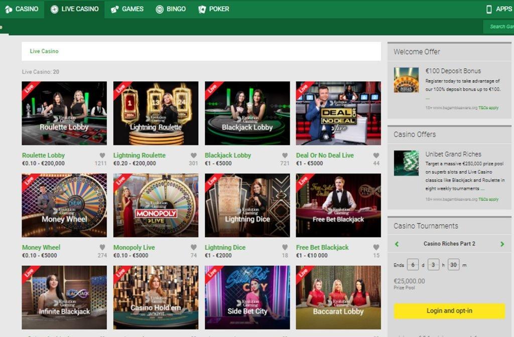 The Famous Unibet Live Casino