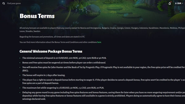 no deposit bonus terms