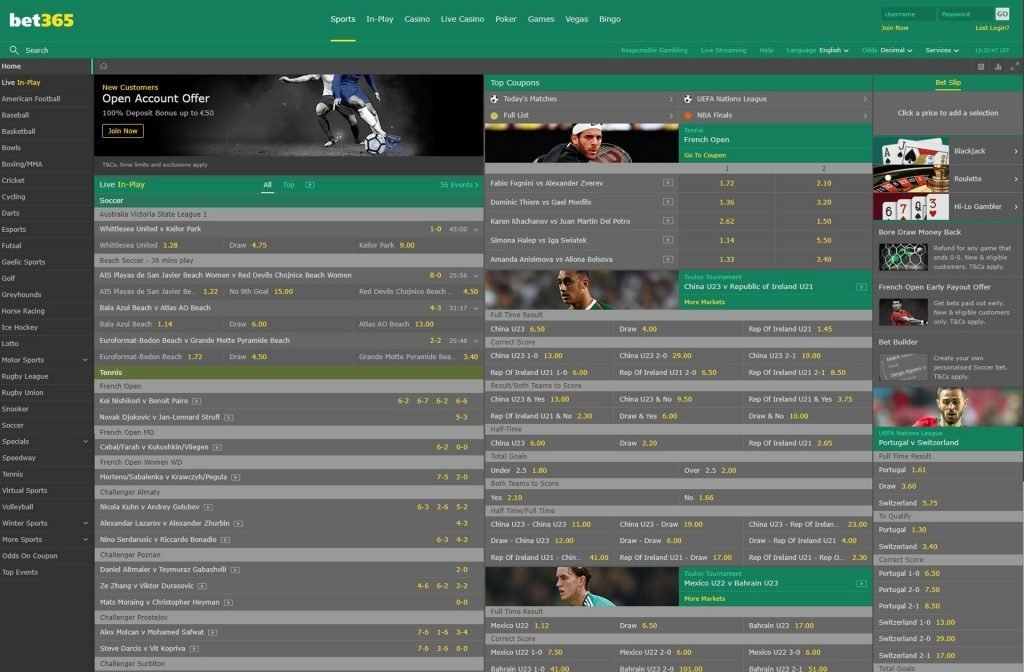 The Sportsbetting Section at Bet365