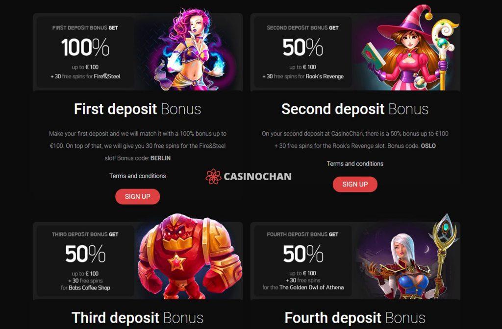 Great Bonuses at CasinoChan