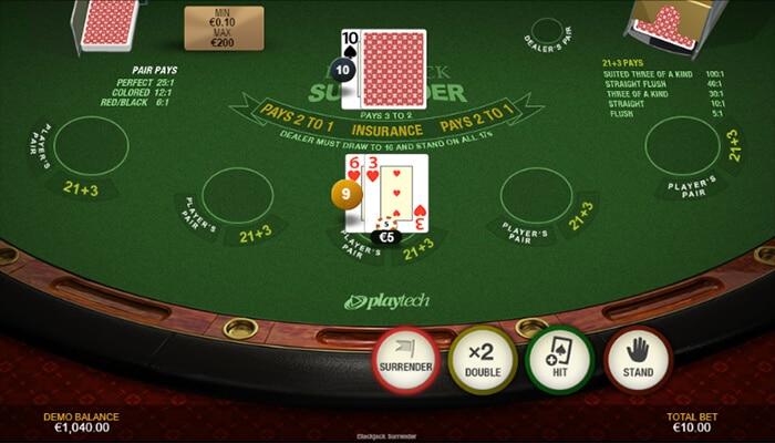 how to use the surrender option in online blackjack
