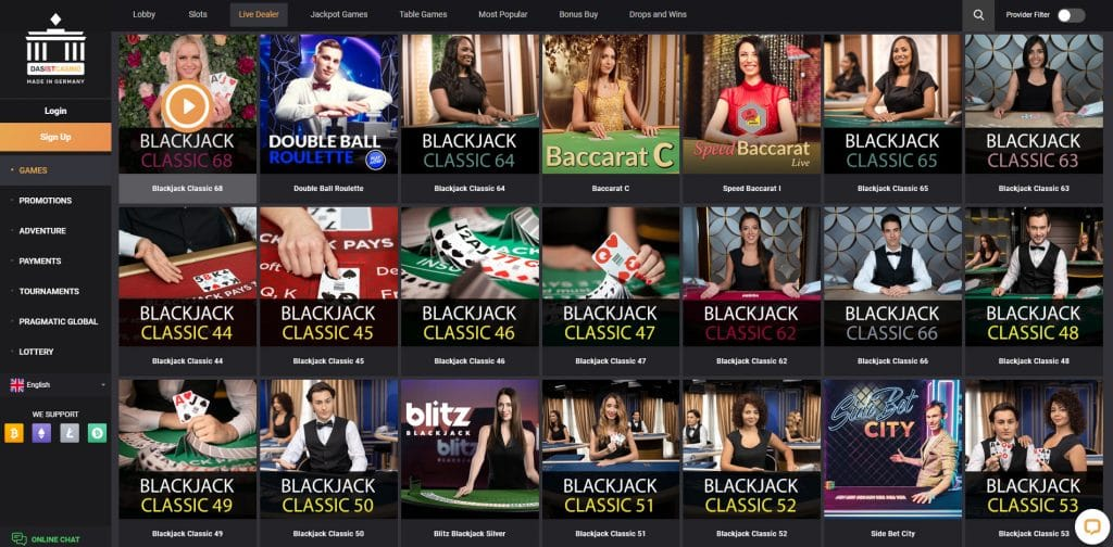 Great Choice of Live Casino Games