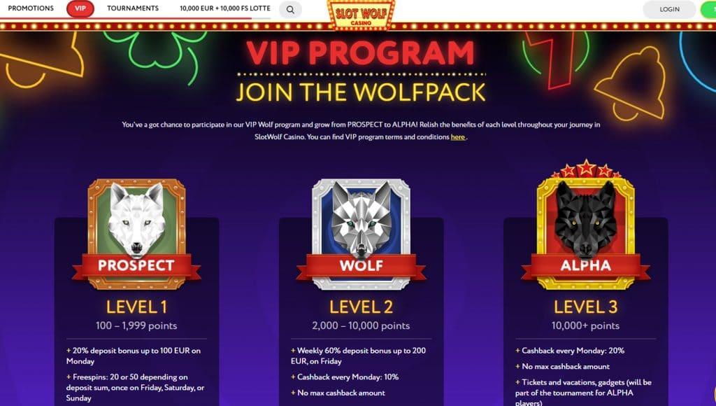 Great VIP Program at Slot Wolf