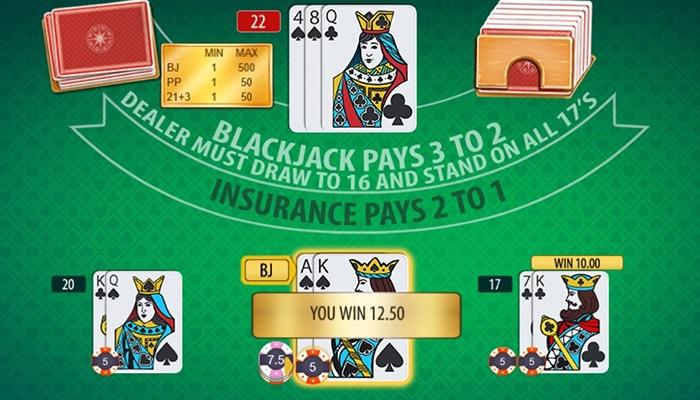 Multi-Hand Blackjack table