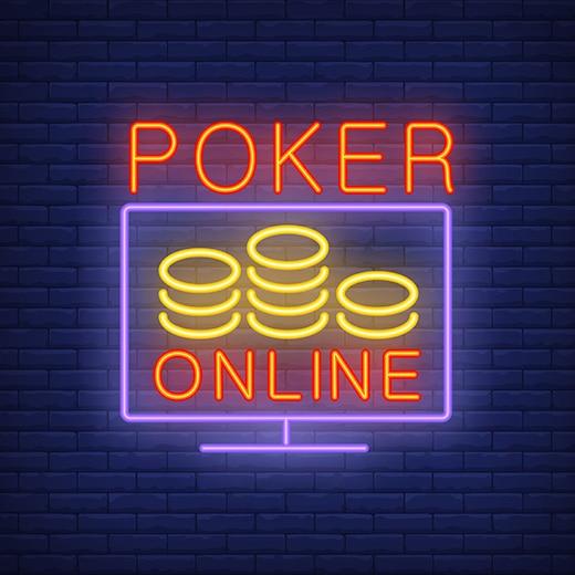 Online Poker neon lights on wall