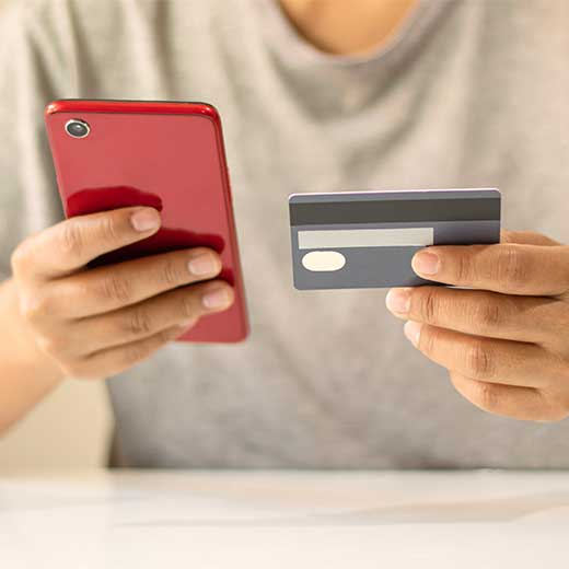 Man paying by phone