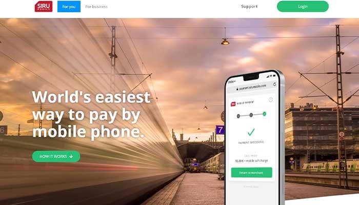Siru mobile homepage
