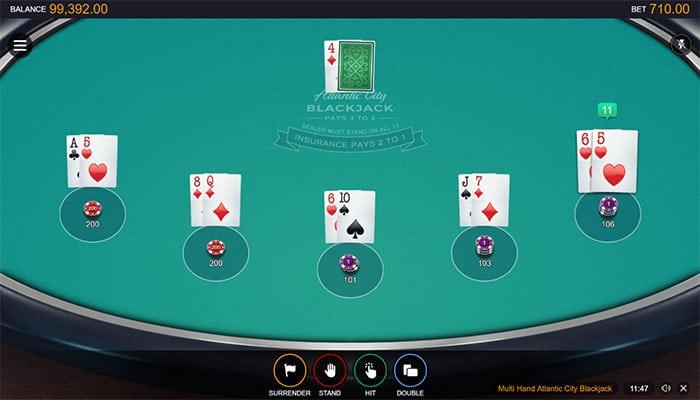 Atlantic City Blackjack Multi-Hand gameplay