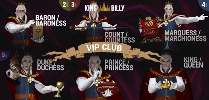 King Billy Casino VIP club sheme